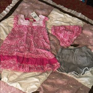 Girl dress with cover up and shorts size 3